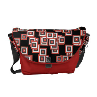 Funky Abstract Squares Pattern Black White Red Courier Bags