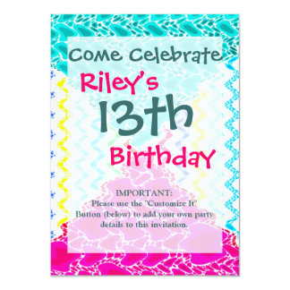 Funky Abstract Waves Ripples Teal Hot Pink Pattern 11 Cm X 16 Cm Invitation Card