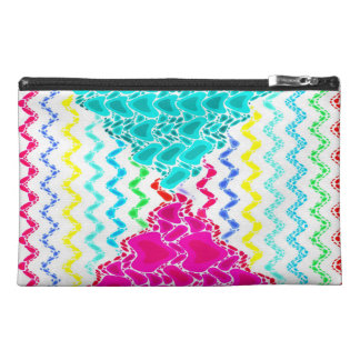 Funky Abstract Waves Ripples Teal Hot Pink Pattern Travel Accessory Bag