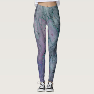 Funky Abstract Zen Purple Black and Green Leggings