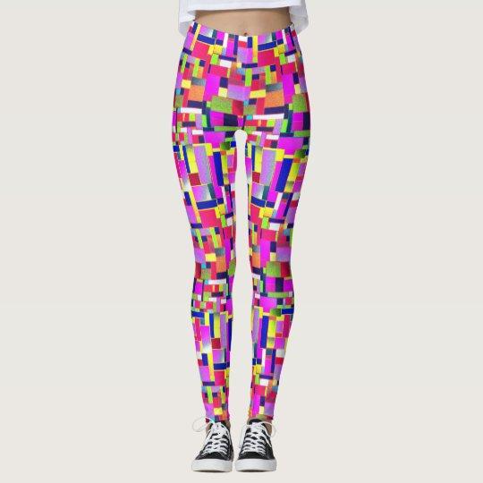 Funky, active, Multicoloured bricks art, Leggings