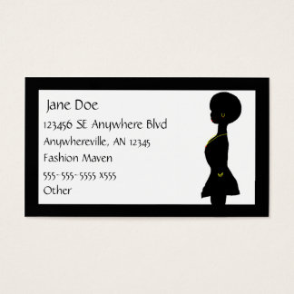 Funky Afro Woman Silhouette Business Card