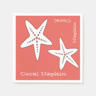 Funky and Cute Starfish Coral Paper Napkin