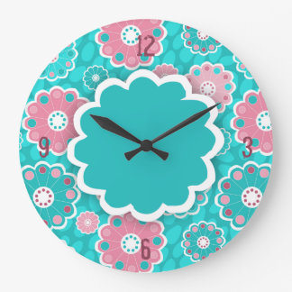 Funky aqua and pink floral abstract wall clock