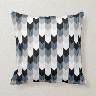 Funky Arrow Chevron Stripes Black Grey Blue White Cushion