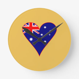 Funky Australia Heart Flag w/ Red Border Round Clock