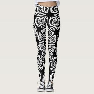 Funky B&W Flower Mandala Yoga Leggings