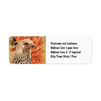 Funky Baby Chicken Silver Laced Wyandotte Pullet Return Address Label