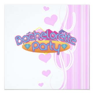"funky bachelorette wedding bridal shower party 5.25"" square invitation card"