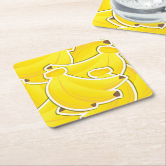 Funky bananas square paper coaster