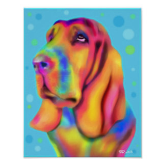 Funky Basset Hound Poster