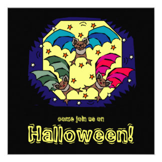 Funky Bats Halloween Party Invitation