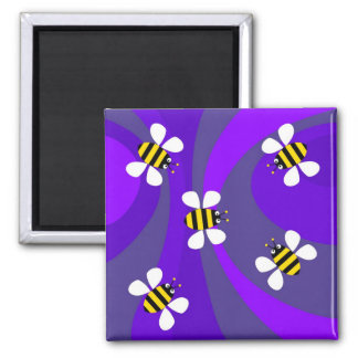 Funky Bees Square Magnet