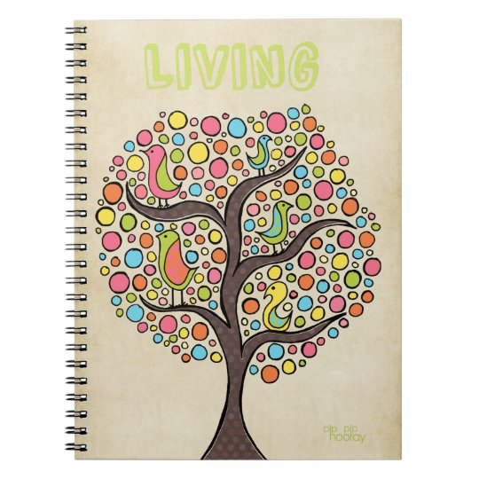 Funky Bird Tree Artistic Drawing Spiral Notebook
