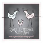 Funky Birds Modern Chalkboard Couples Baby Shower Custom Announcement