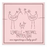 Funky Birds Modern Family Couples Baby Girl Shower Personalized Invitation