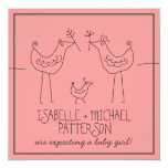 Funky Birds Modern Family Couples Baby Shower Invitations