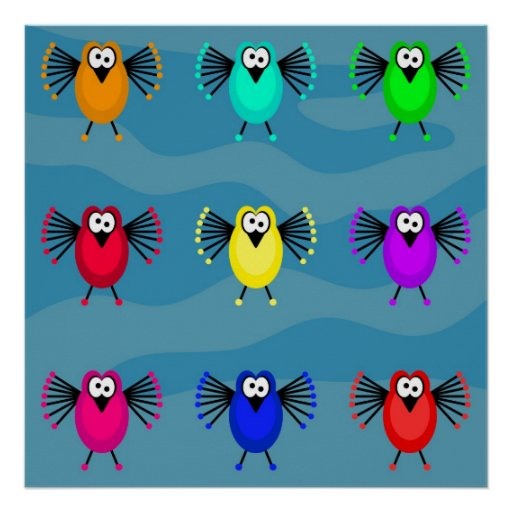Funky Birds Poster