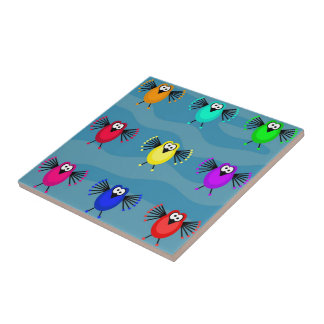 Funky Birds Small Square Tile
