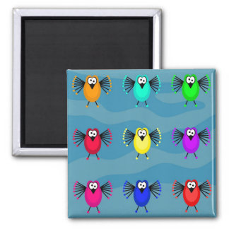 Funky Birds Square Magnet