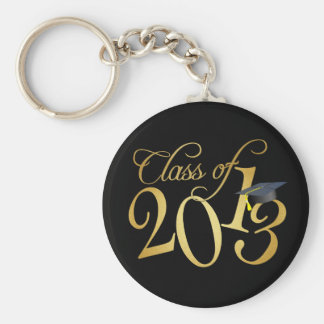 Funky Black and Gold Class of 2013 Basic Round Button Key Ring
