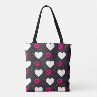 Funky Black and White Lips and Hearths Tote Bag
