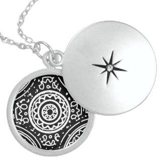 Funky Black and White Mandala Pattern Line Art Locket Necklace
