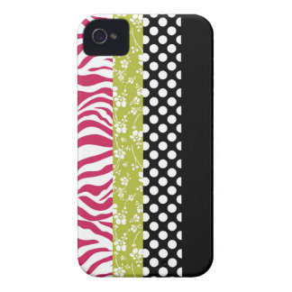 Funky Black Lime and Pink Patterns iPhone 4 Cover