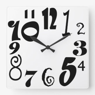 Funky black numbers on white square wall clock