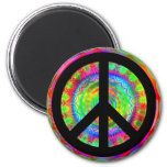 Funky Black Peace Sign 6 Cm Round Magnet