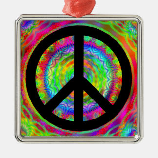 Funky Black Peace Sign Christmas Ornament