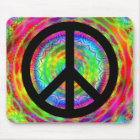 Funky Black Peace Sign Mouse Mat