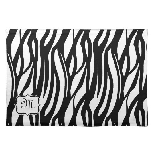 Funky Black / White Monogram Zebra Fabric Placemat