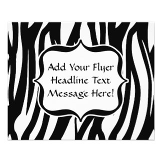 Funky Black/White Zebra Monogram 11.5 Cm X 14 Cm Flyer