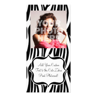 Funky Black/White Zebra Monogram Customised Photo Card