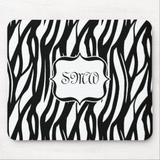 Funky Black/White Zebra Monogram Mouse Mat
