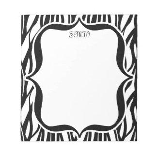 Funky Black/White Zebra Monogram Notepad