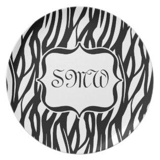 Funky Black White Zebra Monogram Party Plate
