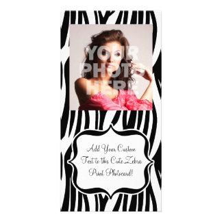 Funky Black/White Zebra Monogram Photo Greeting Card