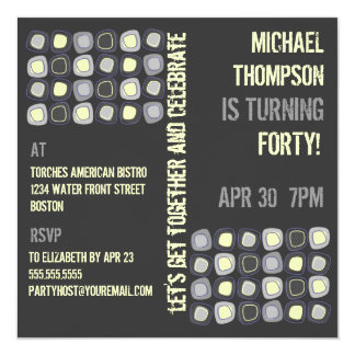 Funky Blocks Adult Birthday Party Invitation