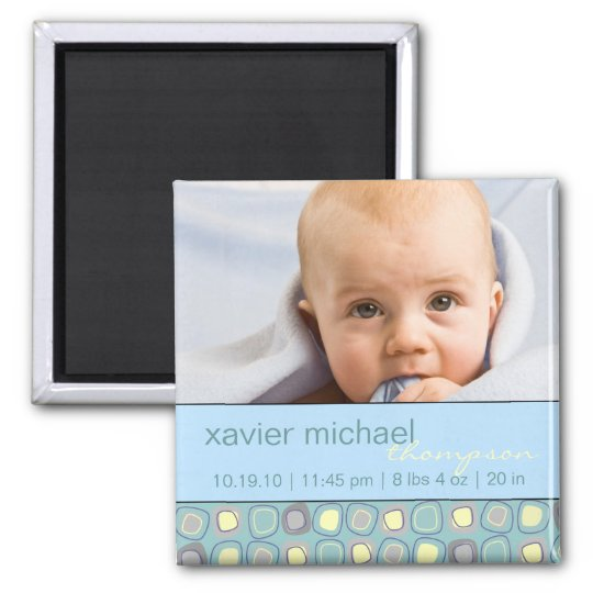 Funky Blocks Baby Photo Magnet