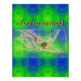 """Funky Blue and Green Abstract Pattern 4.25"""" X 5.5"""" Invitation Card"""