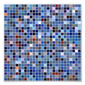 Funky Blue 'Bathroom Tiles' Pattern Photo Print