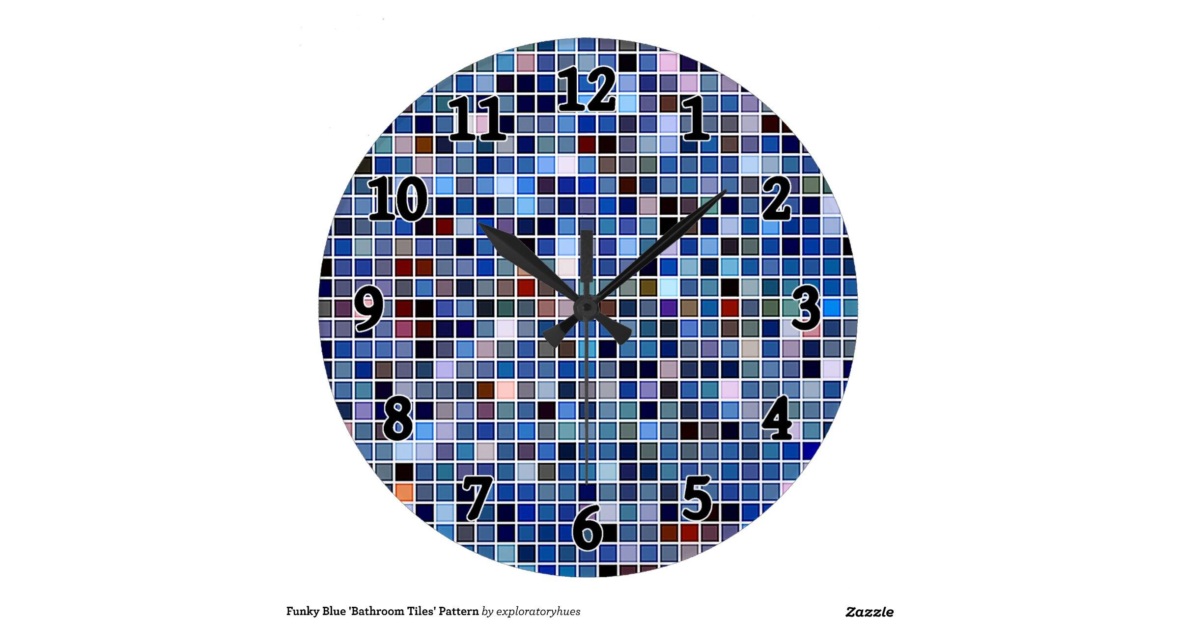 Funky Wall Clocks Funky Blue Bathroom Tiles Pattern Wall Clocks Zazzle
