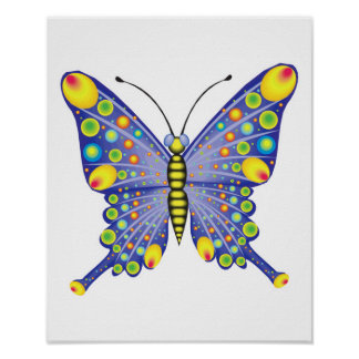 funky blue butterfly poster