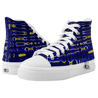 Funky Blue & Gold Pattern High tops
