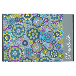 "Funky Blue Green Floral Pattern with Name iPad Pro 12.9"" Case"