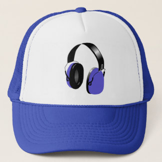 FUNKY BLUE HEADPHONES TRUCKER HAT