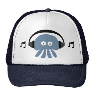 Funky Blue Jellyfish With Headphones DJ Cap