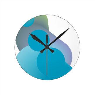 Funky blue modern design round clock
